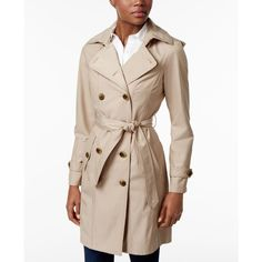 Jones New York Double-Breasted Belted Raincoat ($180) ❤ liked on Polyvore featuring outerwear, coats, beach tan, pink double breasted coat, belted coat, jones new york, double breasted belted coat and rain coat