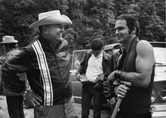 James Dickey, author of 'Deliverance', hanging out with Burt Reynolds on the set.