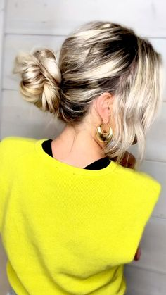 Bun Hairstyles For Long Hair, Work Hairstyles, Summer Hairstyles, Updos For Thin Hair, Casual Updos For Medium Hair, Messy Braided Hairstyles, Messy Bun For Short Hair, Messy Buns, Hairdos