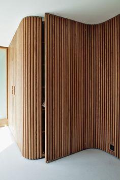 Wooden Walls, Wooden Doors, Oak Doors, Entry Doors, Wooden Wall Panels, Front Entry, Renovation Design, Timber Battens, Bathroom Tile Designs