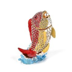 """#Fish With Pearl Trinket Box Item No. KB00582A01 $40.59 This fabulous fish trinket box features large, clear crystals that sparkle effortlessly, on a red and yellow fish that is jumping out of the water with a pearl in his mouth. This fun trinket opens up with a hinge and closes securely with a clasp. Great for hiding money or other small items"""" Hide Money, Yellow Fish, Trinket Boxes, Kitsch, Clear Crystal, Jewelry Box, Sparkle, Pearls, Crystals"""