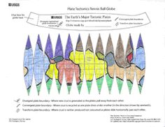 Plate Tectonics Tennis Ball Globe - Colored map showing plates. Free printable for cutting and gluing around a tennis ball.