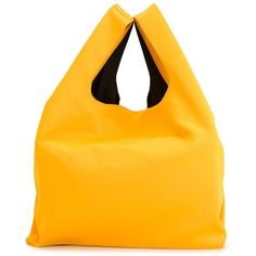 Mm6 Maison Margiela Large Triangle Tote (598.230 COP) ❤ liked on Polyvore featuring bags, handbags, tote bags, triangle purse, yellow tote, tote hand bags, tote purse and tote handbags