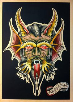 3 knocks before dawn traditional tattoo flash style devil head