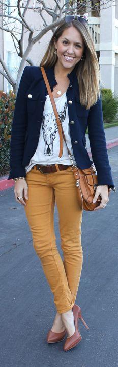 blue jacket, coloured jeans