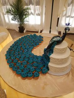 Three tier Peacock Wedding Cup cake