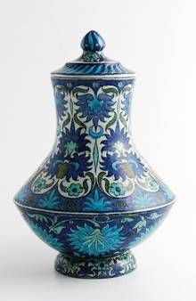 William de Morgan Iznik vase and cover, painted by Jo Juster, c.1890, 27.5 cm high, £4,000-5,000