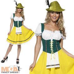 Bavarian German Beer Girl Ladies Oktoberfest Fancy Dress Costume Outfit 8-16