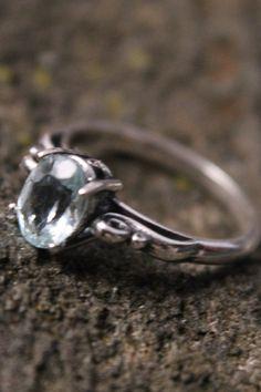 Sterling Silver 8x6mm Aquamarine Gemstone Scroll Ring Size 7