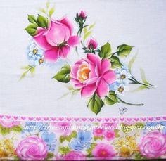 Pintura em Tecido, Como fazer, Passo a passo, Riscos e muitas dicas.: Rosas Pintura em Tecido Pano de Prato