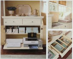 smart furniture for hidden home office storage Home Office Storage, Home Office Organization, Office Decor, Office Ideas, Organizing, Office Nook, Kitchen Office, Diy Kitchen, Smart Furniture