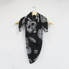 Ladies Square White Silk Scarf with Skull Print.