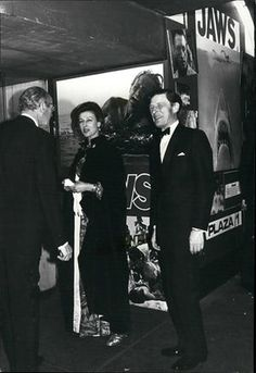 Princess Alexandra and her husband attend a charity performance of the film in December 1975 Jaws