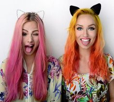friends  #hair #color #orange #pink (I can see us doing this Lia... ~Grace)