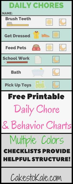 Daily Chore Chart and Behavior Chart.  Free Printable.  Helpful for parents and kids. #freeprintable #chorechart #parenting