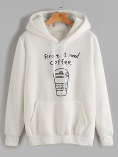 White Printed Hooded Sweatshirt With Pocket — 0.00 € ------------color: White size: one-size