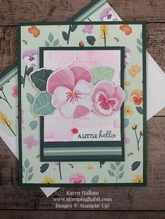 Cool Cards, Diy Cards, Foam Crafts, Paper Crafts, Birthday Cards For Women, Stampin Up Catalog, Stamping Up Cards, Flower Cards, Pansies