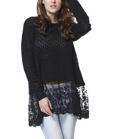 Love this Simply Couture Black Lace-Trim Wool-Blend Tunic by Simply Couture on #zulily! #zulilyfinds