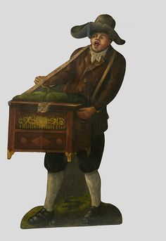 Man with Barrel Organ (Dummy board)   V Search the Collections British, ca.1780 pair to the woman with a lute...probably made for a tea garden.