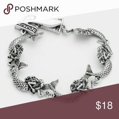 "Mermaid Bracelet Metal mermaid link magnetic bracelet.  Size : 0.7"" H, 8"" L Magnetic closure Jewelry Earrings"