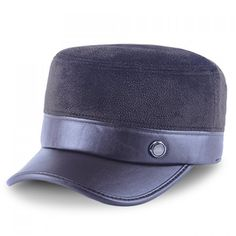 bc07dfa2c74 Stylish Button Embellished PU Matching Fleeces Men s Military Hat