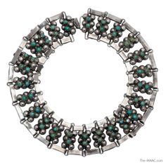 """Silver and turquoise matching necklace and bracelet set, signed Taxco, Mexico, 20th century.  Necklace Length: 20.25"""": Width: 1.5"""".  Bracelet Length: 7.25""""; Width: 1.5""""."""