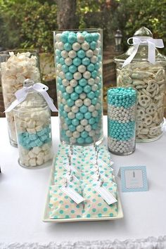 20 Trendy baby shower decorations for table candy buffet tiffany blue babyshower baby 724024077577063426 Deco Baby Shower, Fiesta Baby Shower, Cute Baby Shower Ideas, Shower Bebe, Baby Shower Games, Baby Boy Shower, Baby Shower Candy Table, Baby Table, Baby Boy Baptism