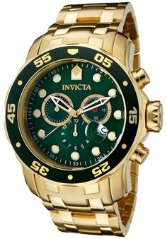 Hombre Reloj Invicta Gold Oro Steel Case Bracelet Man Watch Crystal Pulsera Arm