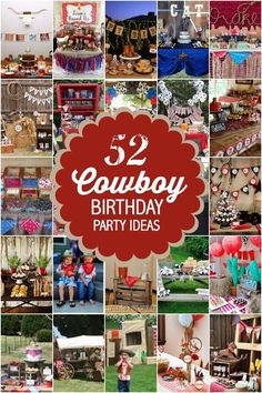 52 Cowboy Themed Boy Birthday Party Ideas - Spaceships and Laser Beams Cowboy First Birthday, Rodeo Birthday, Boy Birthday Parties, Birthday Fun, Birthday Ideas, Cowboy Birthday Party Games, Soccer Party, Pirate Party, Cowboy Party