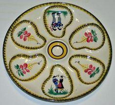 Vintage Quimper Oyster Plate