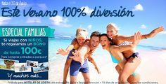 vacaciones especial familias ,regalos bono de 100€ para gastar en parques temáticos Ofertas de hoteles de Playa y Costa. Reservas en ELQUENOCORREVUELA.COM