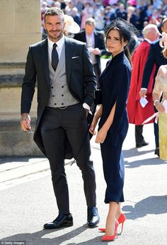 The BestDressed Guests at the Royal Wedding is part of Wedding suits men - Catch up on the bestdressed guests in attendance at Meghan Markle and Prince Harry's wedding, from Amal Clooney and Oprah Winfrey to Victoria Beckham Groom Outfit, Groom Attire, David Und Victoria Beckham, David Beckham Style, David Beckham Suit, David Beckham Wedding, Morning Suits, Designer Suits For Men, Couple Outfits