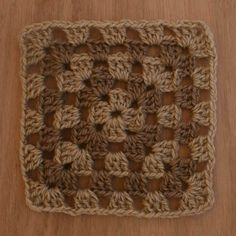 A Finished Crochet Granny Square Made Using Two Colors of New Zealand Wool Yarn *How to crochet a basic granny square afghan