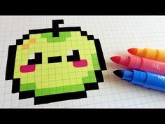 Handmade Pixel Art - How To Draw Kawaii Apple #pixelart - YouTube