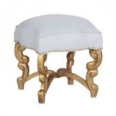 Gold Wood Footstool Ottoman Linen Seat