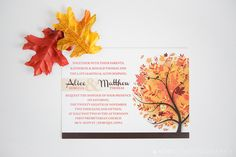 SALE: Autumn Wedding Invitation Fall Wedding by EmDesignWedding
