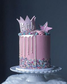 """Mum asked for a """"fun cake with a princess theme"""" for her daughters birthday. She told me that she loved my cake decorating style,… 21st Birthday Cake For Girls, Birthday Drip Cake, 21st Birthday Cakes, Fairy Birthday Cake, 3rd Birthday, Birthday Ideas, Princess Theme Cake, Princess Cakes, Princess Birthday Cakes"""