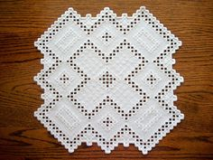 Hardanger White Placemat Hand Embroidered Centre Piece One of a Kind Heirloom Quality