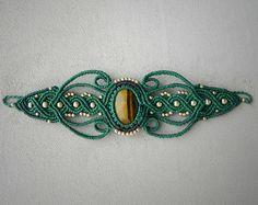 Macramé Cuff Bracelet. TIGER EYE healing crystal. Spiritual jewelry. Festival jewelry. Gypsy bracelet. Alternative Fashion. Chakra Bracelet.