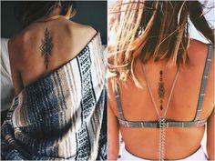 tattoo-motive-wirbelsaeule-frauen-tribal-indianisch-pfeile