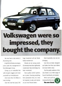 1993 ADVERT THE NEW SKODA BY VOLKSWAGEN GROUP Volkswagen Group, Vehicle, Cool Designs, Posters, Cars, Advertising, Autos, Poster, Postres