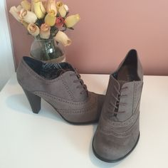 Fioni Gray Oxford Heel Classy gray lace up Oxford heels. Never worn. Fioni Shoes Ankle Boots & Booties