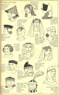 "Medieval or Gothic Europe: Late centuries Chapter ""The Mode in Hats and Headdress: A Historical Survey"" by R. Medieval Hats, Medieval Costume, Medieval Fashion, Medieval Dress, Medieval Clothing, Medieval Fantasy, Medieval Times, Historical Costume, Historical Clothing"