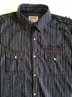 Cantabil Men's Cotton Pearl Snaps Front Long Sleeve Striped Shirt sz 17,5 (44) #Cantabil #ButtonFront