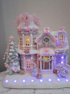 CHIC-Pink-White-Glitter-Shabby-Lighted-Musical-Christmas-Village-House