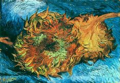 Still Life with Two Sunflowers, 1887 by Vincent van Gogh. Post-Impressionism. still life
