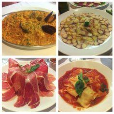 Piccolo Café: risotto a la marinara, carpaccio de pulpo y raviolis de salmón a la napolitana.