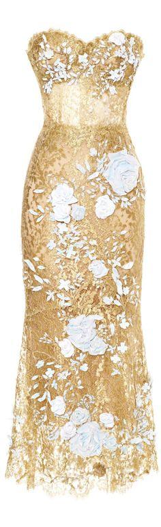 Marchesa ● SS 2014 ● Metallic Lace Cocktail Dress