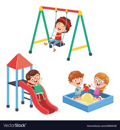 Of children at park Royalty Free Vector Image - VectorStock Cartoon Pics, Cute Cartoon, Kids Background, School Clipart, Cute Monkey, Cute Animal Drawings, Children Images, Worksheets For Kids, Stories For Kids