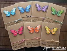 hero arts butterfly stamp on Kraft with twine